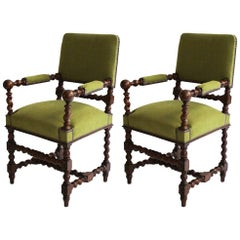 Pair of Antique French Armchairs Re-Upholstered in Alaro Moss Linen