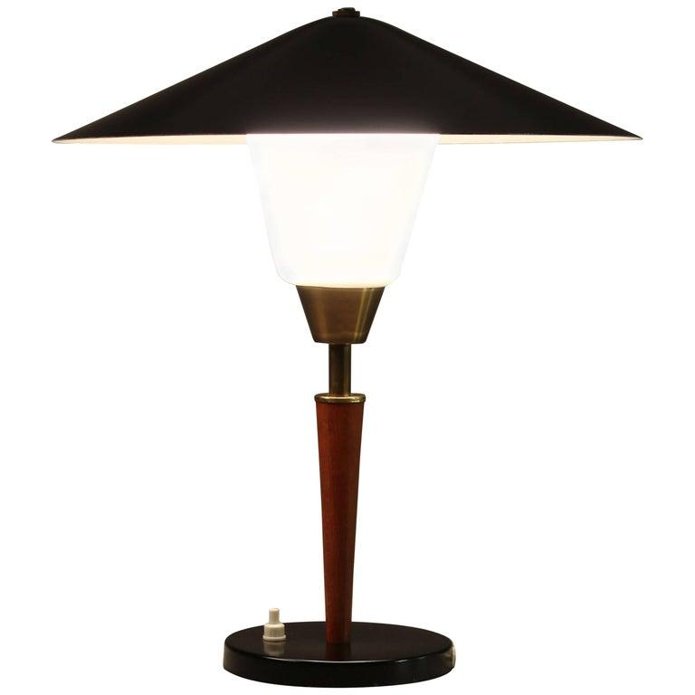 Danish Modern Teak, Brass and Opaline Glass Table Lamp by Fog & Morup