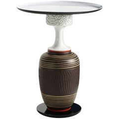 'Glück' side table (vintage ceramics and glass) by Andreas Berlin