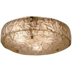 Large Textured Ice Glass Wall Flush Mount by Hillebrand, Germany, 1960s