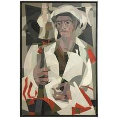 Jacques Fabert Cubist Oil Painting, Guard in Tripoli