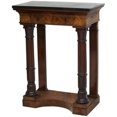 Small Early 19th Century Carved Flame Mahogany Console Table With Black Marble