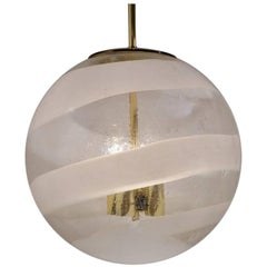 Limburg Glass Ball Pendant, Murano Glass and Brass, German, circa 1970s