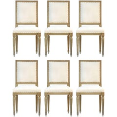 Six Dining Chairs French Louis rev Upholstered to Metis or ready for top covers