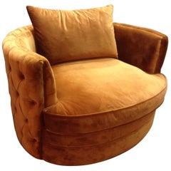 Swivel And Velvet Large Armchair