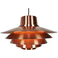 Copper Svend Middelboe Verona Pendant Produced by Nordisk Solar, 1970