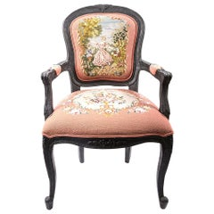 Contemporary Burned Wood Chair with Original 18th Century Embroidery Design