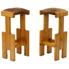 Two brutalist pine stools, early 60s