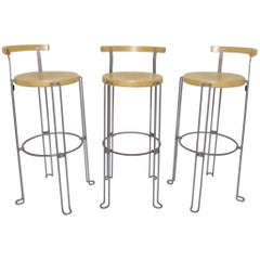Set of Three Borge Lindau Bar Stools for Bla Station, Sweden