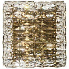 Kinkeldey Six-Light Faceted Crystal and Brass Square Wall Light, 1960s-70s