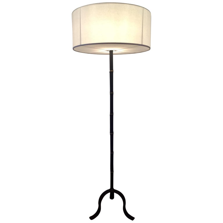 Jacques Adnet, 1950s Black Leather Floor Lamp
