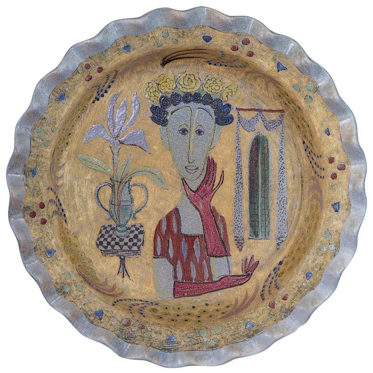 Vintage Birger Kaipiainen Ceramic Platter For Sale