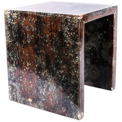 Contemporary Resin and Wood Side Table