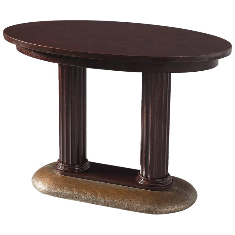 Italian Side Table with Columns and Copper Base