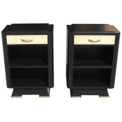 Classic Pair of French Art Deco Parchment, Ebonized Side Table, 1940s