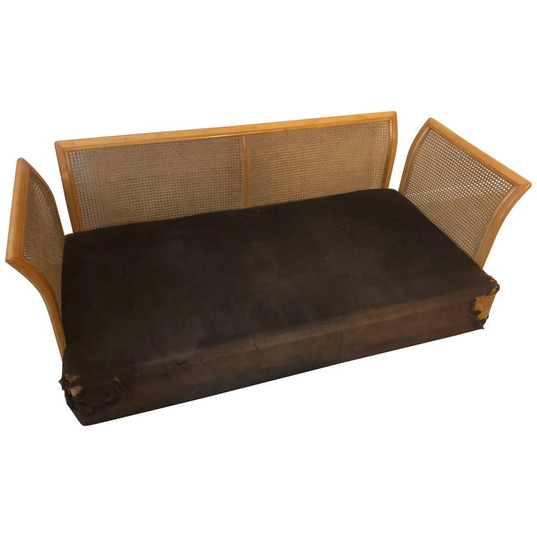 classical caned figured maple grecian couch at 1stdibs. Black Bedroom Furniture Sets. Home Design Ideas