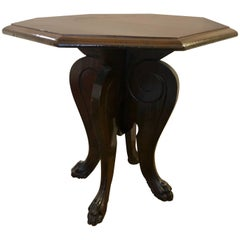 Italian Renaissance Style Hand-Carved Side Table Lion