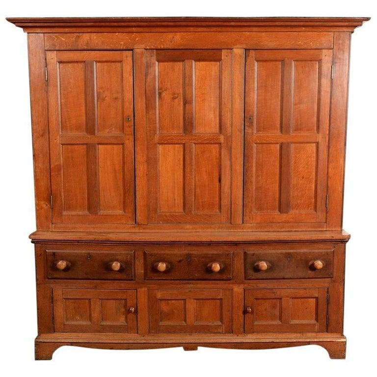 A Large Georgian Oak House Keepers Cupboard