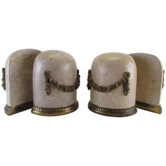 Two Pairs of Louis XV Style Marble and Ormolu Book Ends