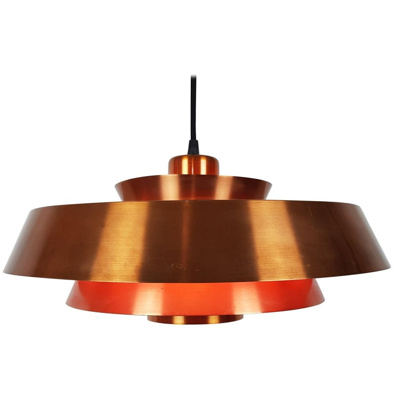 Jo Hammerborg Nova Pendant Light in Copper for Fog & Mørup Denmark, 1960s