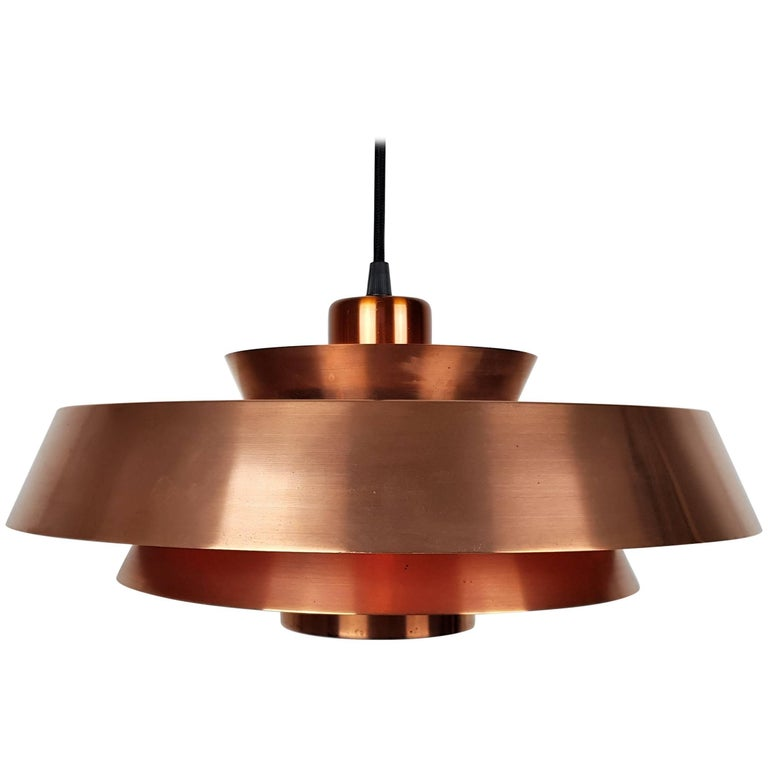 Jo Hammerborg Nova Pendant Light in Copper for Fog & Mørup Denmark, 1960s