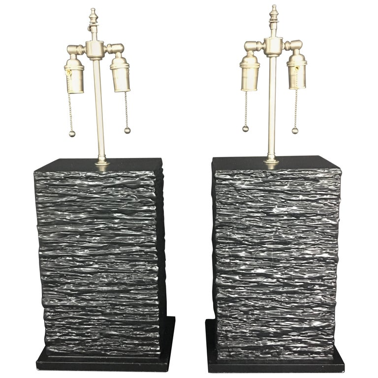 Pair of Exclusive Handcrafted and Textured Bases with Lamp Application in Black