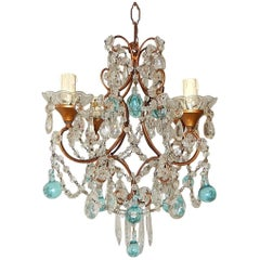 c 1920 French Aqua Blue Murano Drops Crystal Prisms Chandelier