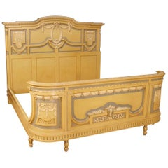 Italian Double Bed In Louis XVI Style In Lacquered Wood From 20th Century