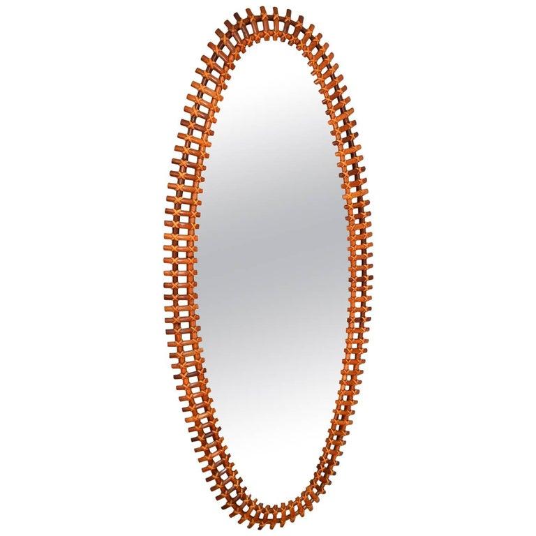 Italian Oversize Riviera Bamboo Wall Mirror, 1960s