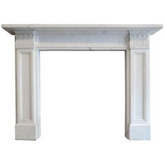 Statuary White Marble Regency Style Fireplace Mantel