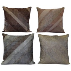 Hand Crafted Embroidered Pillows Glass Beads Geometric Diagonal Grids Gold Siver