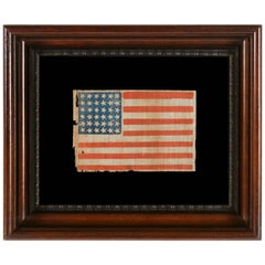 Civil War Ear Antique American Parade Flag with 36 Stars in Dancing Rows