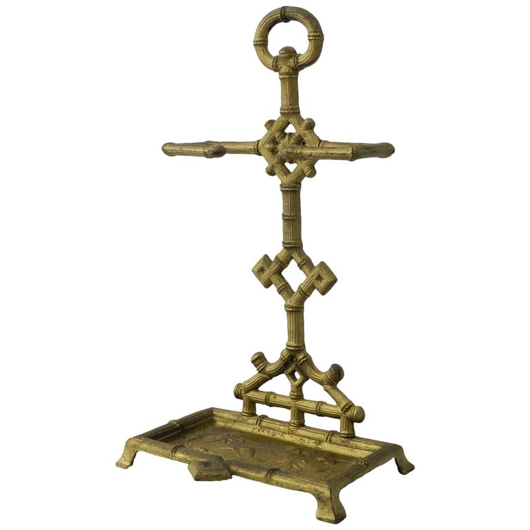 Diminutive Stick Stand Cast Iron Faux Bamboo Aesthetic revival Chinoiserie c1920 For Sale