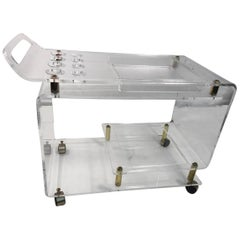 Bar Cart Thick Lucite and Brass Style of Charles Hollis Jones