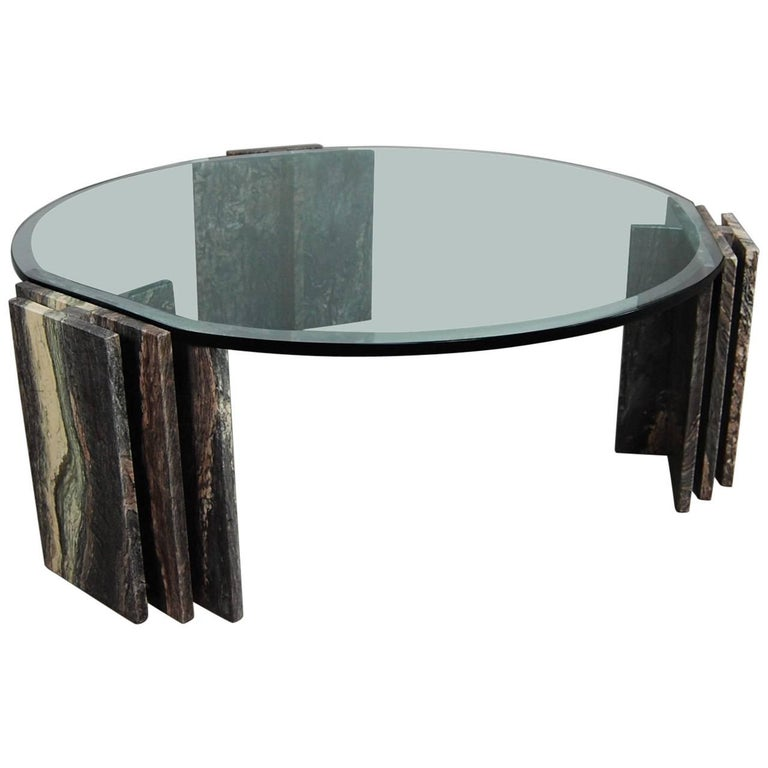 Italian Marble and Glass Coffee Table - 1970's