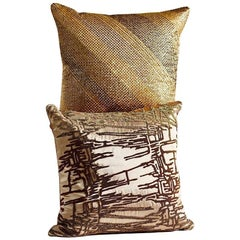 Hand Crafted Set of Two Beaded Pillows Shades of Gold