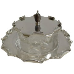 Antique English Silver Plate and Glass Caviar Dish / Server, circa 1900