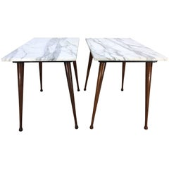 Paul McCobb Carrara Marble-Top Side Tables with Splayed Birch Legs