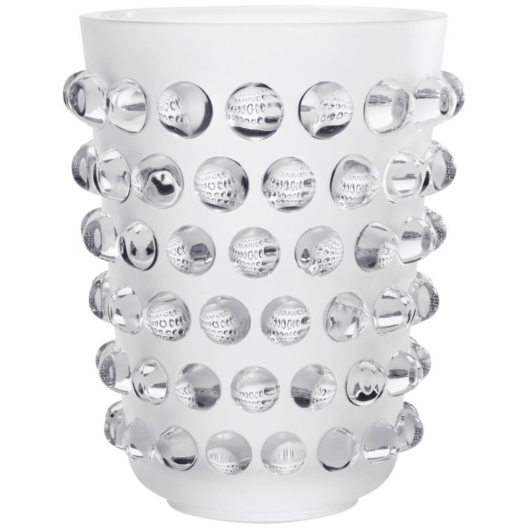 Lalique Mossi Grand Vase Clear Crystal For Sale