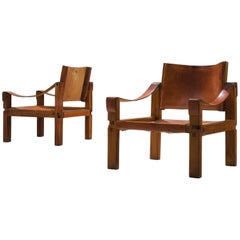 Pierre Chapo Grand Patinated Cognac Leather Elm Chairs S10X, ca 1964