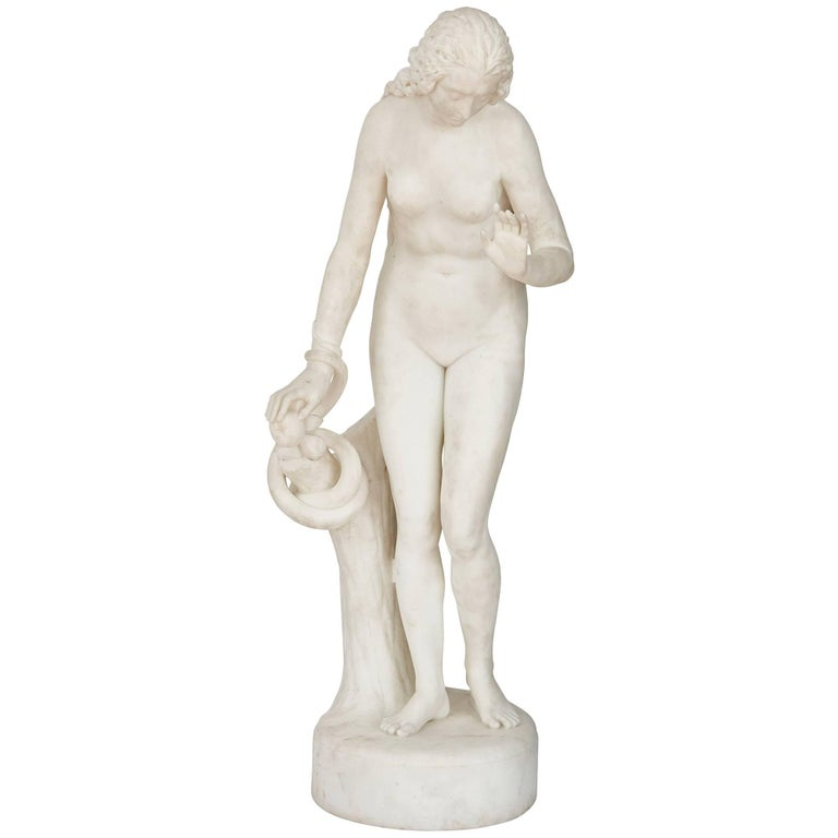 'Eve', Biblical Marble Figure by Claude Michaud