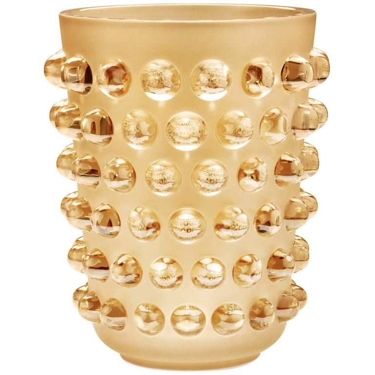 Lalique Mossi Grand Vase Gold Luster Crystal