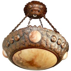 Swedish Arts and Crafts Era Hanging Fixture in Hammered Copper and Alabaster