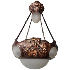 Swedish Arts and Crafts Hammered Copper Hanging Fixture #18, Circa 1910