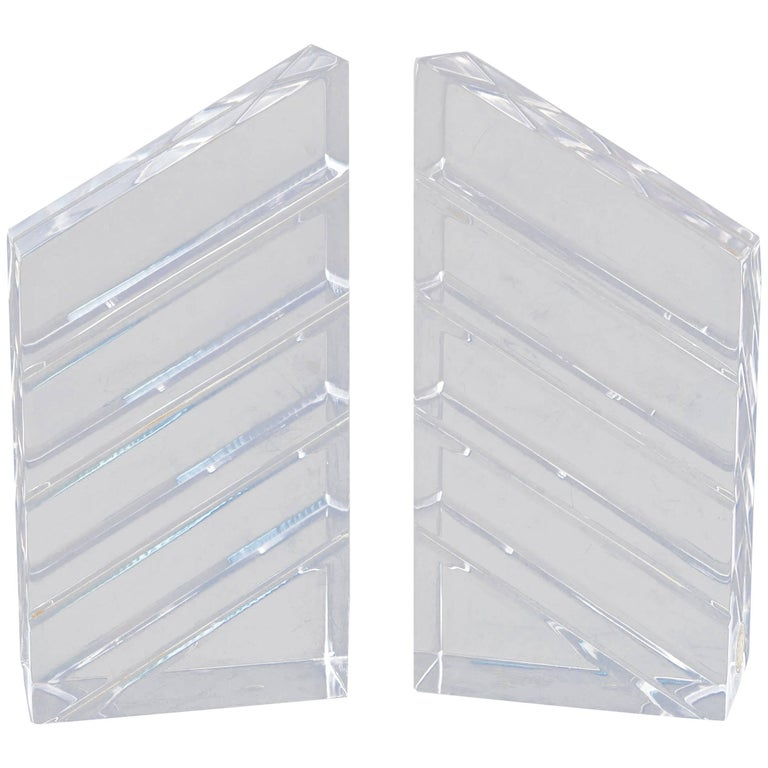 Pair of Lucite / Acrylic Sculptural Bookends by Astrolite