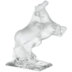 LALIQUE Two Wild Horses Sculpture Clear Crystal Numbered Edition