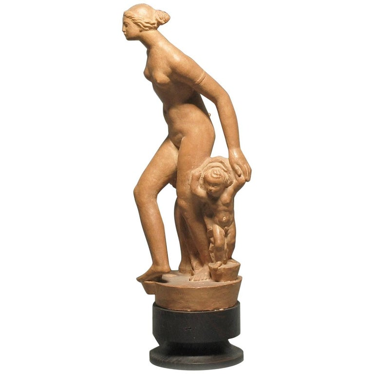"Josef Pasa Terracotta Art Deco Sculpture Titled ""Venus and Amor"""