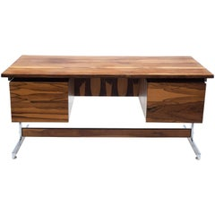 South American Brazilian Modern Rosewood and Chrome Desk