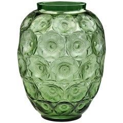 Lalique Anemone Extra Large Vase in Green Crystal Limited Edition 188