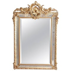 19th Century French Louis XV Gesso and Gilt Carved Mirror